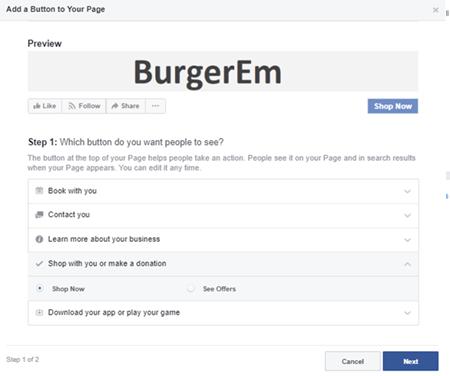 Facebook Online Ordering