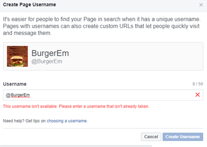 Facebook Create Page User Name